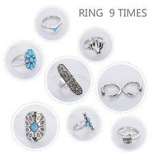 9pcs/set Bohemian Boho Punk Ethnic Style Antique Silver Turquoise Ring Thumb