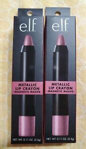 Lot of 2 e.l.f. Metallic Lip Crayon 82110 Magnetic Mauve