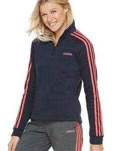 Adidas Quarter-zip 3-Stripe Women's Fleece Jacket, Size Small Navy, NWT!