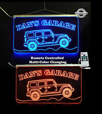 Personalized Jeep LED Man Cave Garage Sign - Gift for Dad Hanging Sign