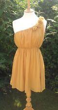 Bridesmaid Dress Mustard Yellow Chiffon one shoulder corsage chiffon mini dress
