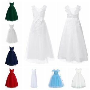 Girls Hollow Out Sweet Long Dress Bridesmaid Kid Princess Sleeveless Ball Gown