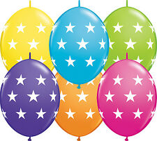 "10 X 12"" Quick Link Printed Qualatex Latex Balloons - Linking Garland Decoration Big Stars Tropical Assorted"