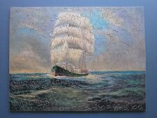"C1910'S PEACOCK BROTHERS WOODEN JIGSAW PUZZLE ""A FAIR BREEZE"" OLD SHIP AT SEA"