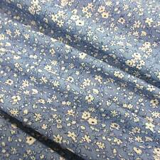 Stoff Baumwolle Meterware Mille Fleur Liberty jeansblau weiß blau Blümchen Neu