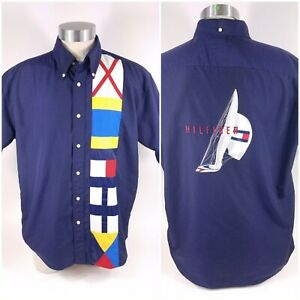 Tommy Hilfiger Nautical Sailing Button Sailboat Spell Out Color Flag Shirt Sz L