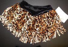 NWT Fringed Leopard Velvet Dance Skirt w/ black trunks Medium adult ladies