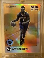 "2019-20 NBA Hoops Premium Stock ZION WILLIAMSON SSP SILVER HOLO PRIZM ""Arriving"""