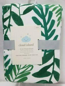 Cloud Island Green Fern Leaf Print Fitted Elastic Crib Sheet White Cotton NWT