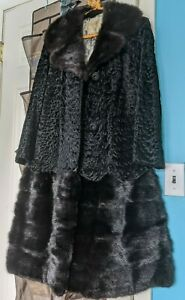 Vintage Black Real Fur two in one Removable Bottom with Zipper