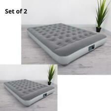 "Set of 2 Full Air Bed Flocked Mattress with Built in AC Pump 12"" Vinyl Durable"