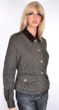 NEW BURBERRY BRIT $750 GREEN LOCKINGTON QUILTED PEPLUM NOVA CHECK JACKET~6 8 40