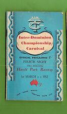 #D266. HAROLD PARK RACEWAY TROTTING  PROGRAM 1st March 1952
