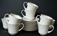 PICKARD China U.S.A. BRACELET PATTERN PLATINUM TRIM 8 CUPS & SAUCERS