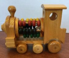 """TOY WOOD Train W/counting Colorful Beads Decor Engine8""""x5.5"""""""