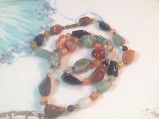 "Vintage Quartz Agate Polished Stone Necklace Green Black Red Striated  23"" Long"