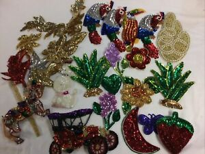 23 Sequin Patches 1 Beaded Large Lot Carousel Horse Birds Flowers Car