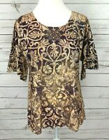 Jane Ashley Top Womens Medium M Purple Orange Short Sleeve Rhinestone Stretch
