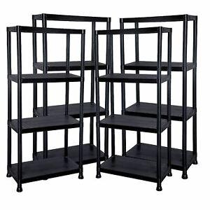 4 x 4 Tier Black Plastic Shelving Shelves Racking Storage Shelf Unit New