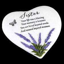 """Thoughts of You"" Lavender Stone Heart Memorial Plaque - Sister"