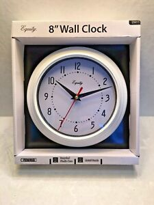 "Equity wall clocks 8"" white"