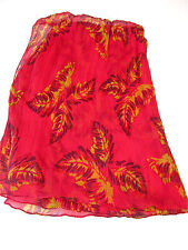 LUCKY BRAND LONG CHERRY RED SILK CRINKLE SCARF OCHRE & WINE LEAVES by DALE HOPE
