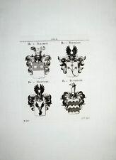 1816 Adelige von Rathen Reichart Rentzel Rückingen 4 Kupferstich-Wappen Tyroff