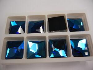 2 swarovski asymmetric flat square stones,25mm bermuda blue #2420