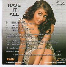 (DZ813) Anusha, Have It All - 2008 DJ CD