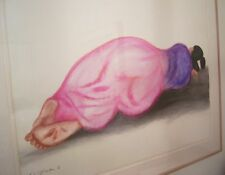 "Rc Gorman Navajo Original Pastel Painting Art ""Reclining Rosa"" W Letter From Rc"