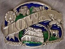 Pewter Belt Buckle State of Iowa colored NEW