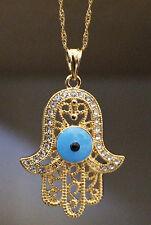 18K Gold Filled Filled Pendant  Hamsa Hand Evil Eye Pendant  FREE Necklace