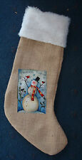 "21"" friends forever snowman burlap Christmas stocking hand crafted in USA"