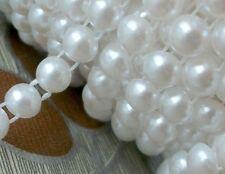 25 mètres Ruban de Cabochon 6mm en demi Perle Blanc Lustré pour Embélissement