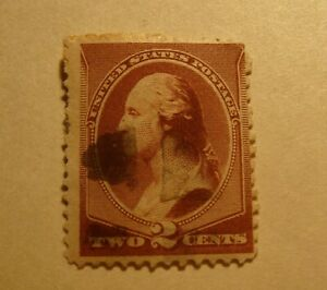 George Washington rare 2 cent stamp fancy cancelled red brown rare