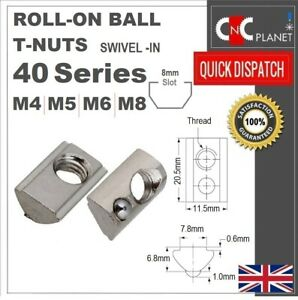 T nut M4 M5 M6 M8 Roll in Ball Spring Slide Aluminum Extrusion 40 Series Profile