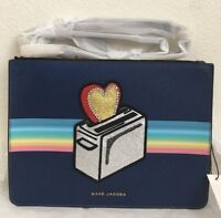NWT Marc Jacobs Flat Leather Crossbody Bag $295 MIDNIGHT BLUE