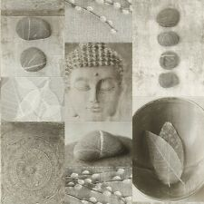 Stone Grey Buddha Tiles Wallpaper Pebbles Kitchen and Bathroom Vinyl 306347