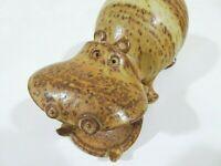"Vintage MCM Mid-Century Modern Hippopotamus Hippo Stoneware Pottery Statuette 8"""