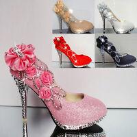 Womens Party Platform High Heel Wedding Bridal Shoes Ladies Club Glitter Pumps