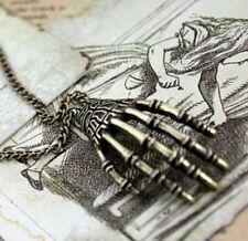 Skeleton Hand Skull Punk Necklace Pendant Charm Horror Halloween Gothic Gift