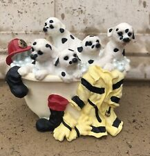 Westland Whistle While You Work Musical Figurine Dalmatians Bathtub Firefighter