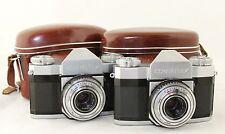 2x Zeiss Ikon Contaflex, vintage SLR camera, lens Tessar 1:2,8  f=45mm & case