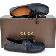 GUCCI New sz 8.5 G - US 9 Authentic Designer Mens Drivers Loafers Shoes Black