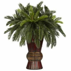 "Luxury Green Cycas w/Bamboo Vase Faux Silk Plant - 29"""