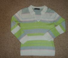 LADIES GIRLS PASTEL STRIPED 3/4 SLEEVES TOP SIZE SMALL UK10 USED