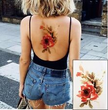 FLOWER TATTOO ROSE TEMPORARY TATTOO FLORAL TATTOO WATER COLOUR EFFECT RED ROSE