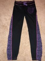 GIRLS SIZE LARGE MONSTER HIGH BLACK SWEATPANTS ELASTIC WAISTBAND PURPLE GLITTER