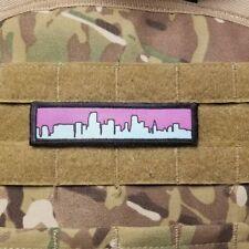 """1x4"""" Miami Skyline 80s Vaporwave Military Hook Back Morale Patch"""