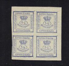 Spain Scott 174a Unused Ultramarine block 1872 Mint Hinged $120 cv